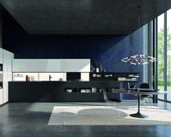 Bucătărie minimalistă, cu aer high-tech